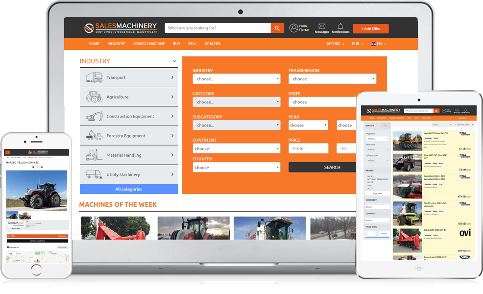 Sales-machinery.com the worldwide marketplace for used heavy equipment